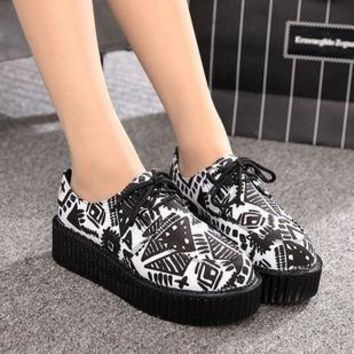 Creepers shoes women Shoes plus size ladies platform shoes Women Flats shoes