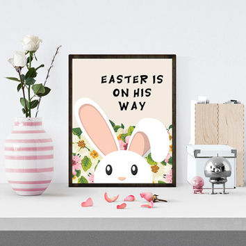 Easter Wall Print, Happy Easter Print, Home decor, Floral Print, Flower Wall Printable, Rabbit Print, Bunny Print, Floral Easter Print