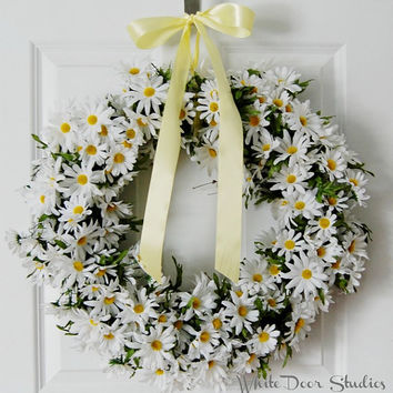 White Daisy Wreath, Spring Wreath, Front Door Wreath, White Wreath, Summer Wreath, Handmade Wreath
