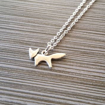 Silver Fox Necklace - Running Fox Charm Necklace - Personalized Necklace - Custom Gift - Initial Necklace - Initial Jewelry - Gifts Under 10