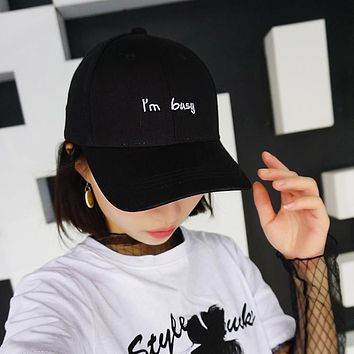 2017 Fashion Letter I'm Busy Cap Women Men Embroidery Baseball Caps Custom Adult Casual Snapback Hats Sport Casquette Gorras