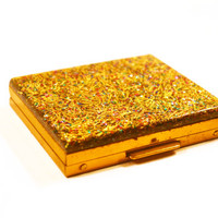 1950s Compact with Lucite Confetti Glitter and Gold