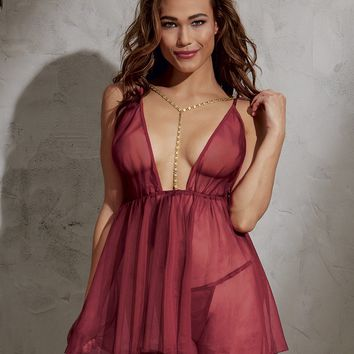 Plunging Gold Chain Babydoll