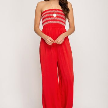 Women's Wide Leg Jumpsuit with Smocked Tube Top Bodice