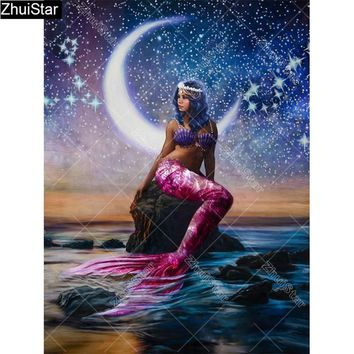 "Zhui Star Full Square Drill 5D DIY Diamond Painting ""moonlight Mermaid"" 3D Embroidery Cross Stitch Rhinestone Mosaic Decor CJ53"