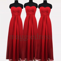 Custom Red Long Prom Dresess Bridesmaid Dresses 2014 Simple Design Evening Gowns Party Dresess Homecoming Dresses Wedding Party Dress