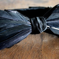 Black Feather And Satin Bow Tie Handmade by Lord Wallington