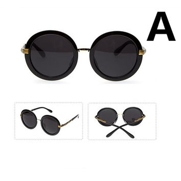 Women Retro Metal Frame Mirrored Lens Round Sunglasses Glasses Eyewear Multi-Color