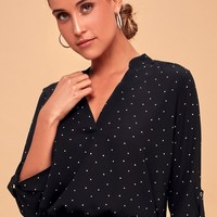 V-sionary Black and White Polka Dot Top