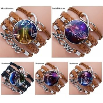 Mendittorosa For Child Zodiac Signs 12 Constellation Brand Jewelry Multilayer Black/Brown Leather Bracelet Bangle Glass Dome