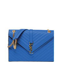 Saint Laurent Monogramme Matelasse Shoulder Bag, Royal