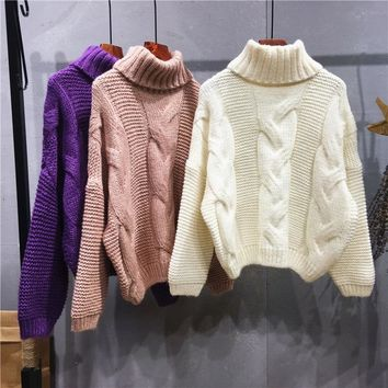 Autumn Winter Women Cable Sweater Twist Shape Turtleneck Thick Warm Pullover Feminine Purple Pink White Brown Yellow Knit Jumper