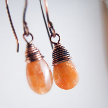 Sunstone Earrings, Sunstone Jewelry, Copper Wire Wrapped, Sunstone Drop Earrings, Gemstone Earrings, Sundance Style Jewelry, Orange Sunstone