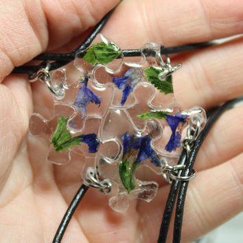 Puzzle pendants 5 piece set Real flower pendants Purple C1