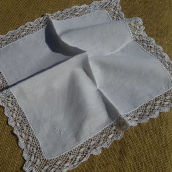 Antique 1900's French Lace Handkerchief Monogrammed - Handmade - White Cotton - Large handmade lace trim  - Pocket Square - Bridal Hankie