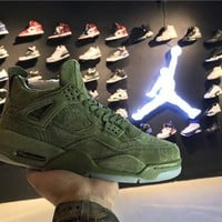 Nike KAWS x Air Jordan Retro 4 IV Green AJ4 Discount Men Sports Basketball Shoes Sale Online 930155-302