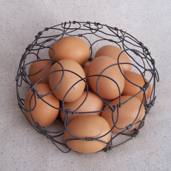 All Your Eggs in One Basket Vintage Round Wire Egg by gwackamoley