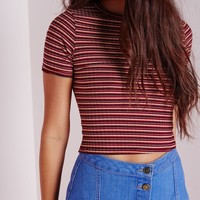 Missguided - Stripe 70's Capped Sleeve Crop Top Burgundy