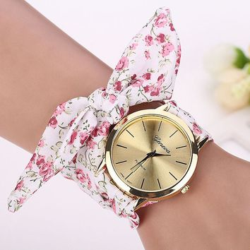 relojes mujer 2017 Womens Floral Jacquard Cloth Quartz Bracelet Watch Wristwatch Cloth fabric Watch vrouwen horloge
