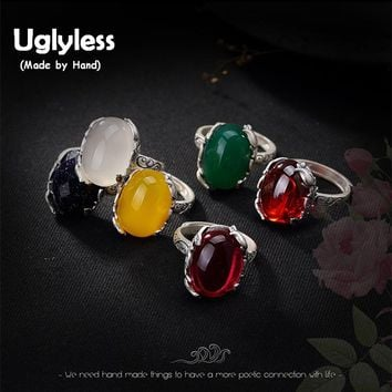 Uglyless 925 Sterling Silver Ring Natural Chalcedony Jewellery Women Gemstone Bijoux Handmade Rose Flower Fine Jewelry Rings