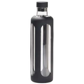 Black Sleeve Borosilicate Glass Water Bottle