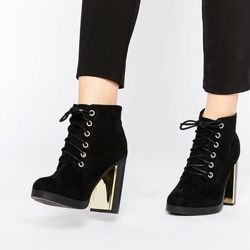 New Look Lace Up Detail Block Heel Boot