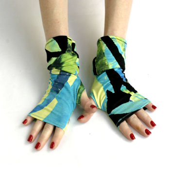 Polar Lights Fingerless gloves - mittens, Tribal Style, Stretchy, Orient, Belly Dance, Gypsy, Fusion Dance, Black ,Blue, Yellow