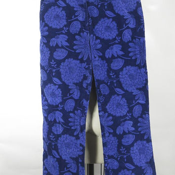Lilly Pulitzer Floral Corduroy Pants Royal Blue & Navy Size 6