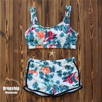 2018 Tropical Print Women Bikini Set  Push up Bikinis Underwaist Top+ Boxer Bottom For Summer Swimming Pool Swimsuit Swimwear