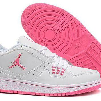 DCCKL8A Jacklish Girls Air Jordan 1 Flight Low White Pink Newest For Sale