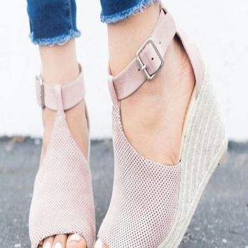 STARLING Mauve Woven Espadrille Wedges