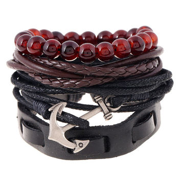 Promotional 4 in 1 Fashion Genuine Wrap Leather Bangles Male For Female Wooden Anchor Charm Bracelets Cuff Accessory TZ007