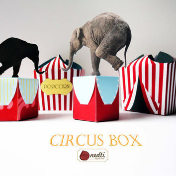 Printable Circus Box Template, DIY Gift Box, Elephant Circus Tent - Instant Download