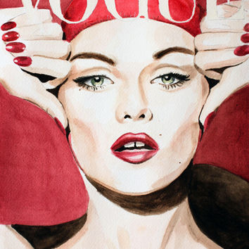 Vogue Magazine Cover. Vanessa Paradis. Fashion Illustration Art Print by Feeling Artsy | Society6