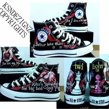 Twilight Saga hand painted any size converse shoes