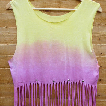 CUSTOM LISTING. Pastel Coloured Dip Tie Dye Fringe Tassle Top Vest Studded Spike Shoulders Oversize  Pink Yellow