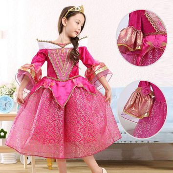 DCCKH6B High quality Sleeping Beauty cosplay Costume For Kids Children girl  Clothing Girl Princess Aurora Fancy red Dress