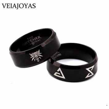 Game The Witcher 3 Rings Wild Hunt Medallion Black Stainless Steel Triangle Rings Men Wolf Head Punk Ring Charms Cosplay Jewelry