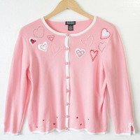 Beaded Hearts Light Pink Cardigan Valentines Ugly Sweater