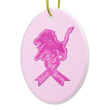 Spicy Pink Lion Ribbon Ceramic Ornament