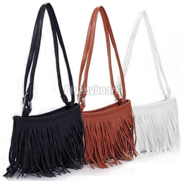 Womens Vintage Faux Suede Fringe Tassel Satchel Shoulder Handbag Crossbody Bag Female Bags Women Leather Handbags Messenger Bags