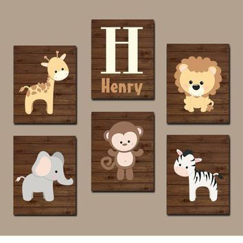 BOY Animal Nursery Wall Art, Boy Animal Nursery, Jungle Safari Animals, Baby Boy Decor, Boy Bedroom Wall Decor, Canvas or Prints Set of 6