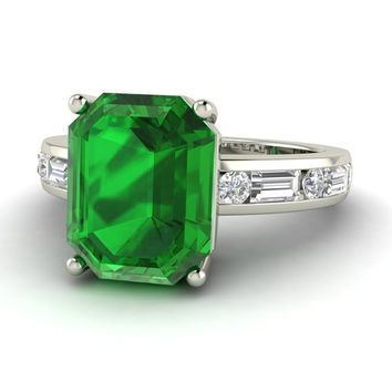 Emerald Engagement Rings | Emerald & Diamond Ring | Emerald cut Ring | 14K | White Gold | 2.77 carats | Dream