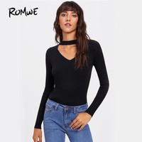 Women Black Slim Long Sleeve Basic Plain Tops Club Autumn T-Shirt