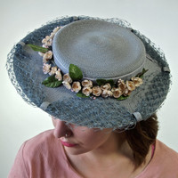 1940's Renoir Blue Straw Hat with Linen Cherry Blossoms Velvet and Netting Trim Mary Poppins