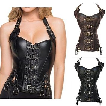 Steampunk Sexy Black Faux Leather Buckle Overbust Halter Corset Top Waist Corselet Burlesque Costume Push Up Corsets