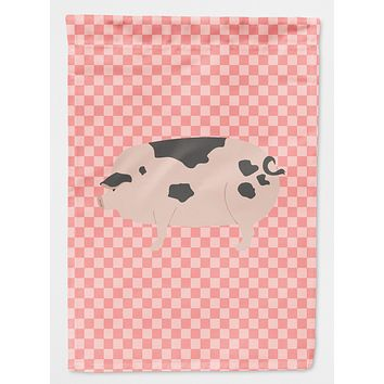 Gloucester Old Spot Pig Pink Check Flag Canvas House Size BB7940CHF