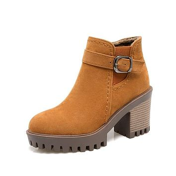 Autumn Winter Motorcycle Boots Leisure Campus Wind Round Head with High-heel Ankle Boots Women's Shoes