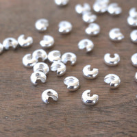 100 5mm Silver Crimp Bead Covers, silver plated brass (946FD)