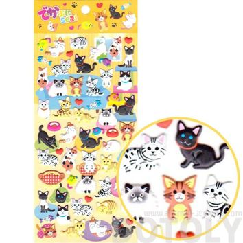 Adorable Mixed Kitty Cat Breed Animal Themed Puffy Stickers for Scrapbooking from Japan